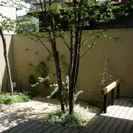浦和岸町の家-リビングより デッキ部分と南側庭を眺める