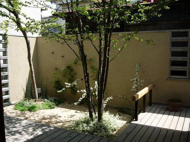 浦和岸町の家の部屋 リビングより デッキ部分と南側庭を眺める