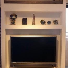 マンションリフォーム 千葉(千葉 習志野) (壁面にすっきりと収まったTV/エアコン)