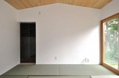 船底天井の家(リフォーム) (リビング船底天井と漆喰壁)