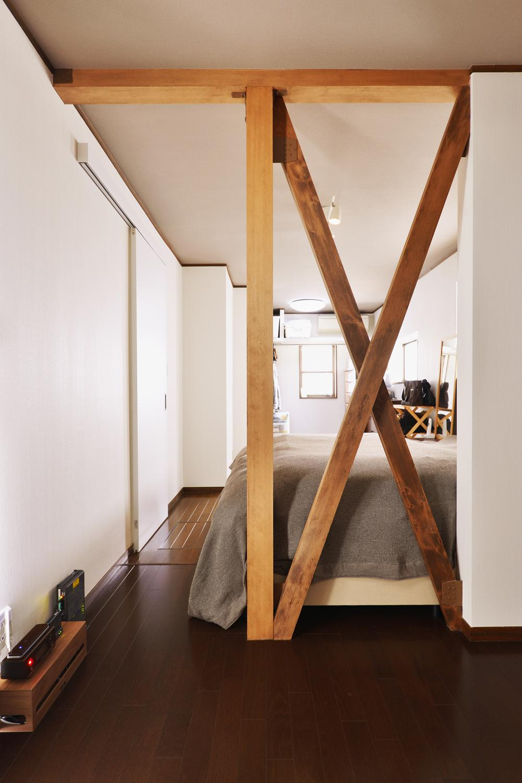 a邸・リビングをベストポジションにして、すがすがしく、片付けやすく・・・。の部屋 1階 寝室