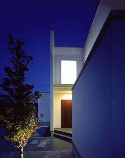 アプローチのある玄関 (小川町の家)