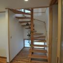 地窓のある木製螺旋階段