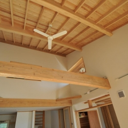 木の質感を感じれる天井とシーリングファン (霧島市牧園町 H邸)