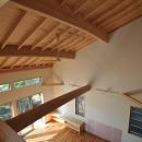 霧島市牧園町 H邸の写真 室内窓のある部屋から1階を見下ろす