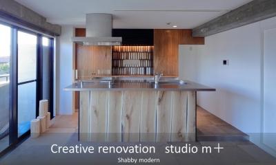 shabby modern 「ブリックタイルと格子」 (オープンキッチン)
