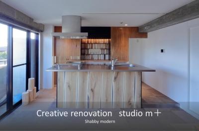オープンキッチン (shabby modern 「ブリックタイルと格子」)