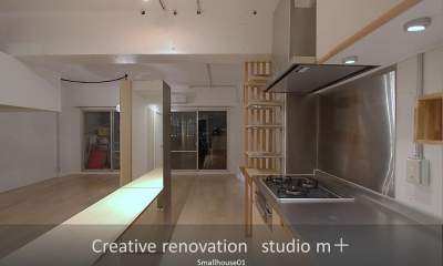 オリジナルキッチン|Smallhouse01 「狭小スペースと大収納」