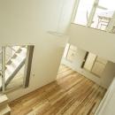 階段でつながる3段のルーフテラス