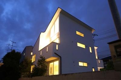 ライトアップした外観 (等々力の二世帯住宅)