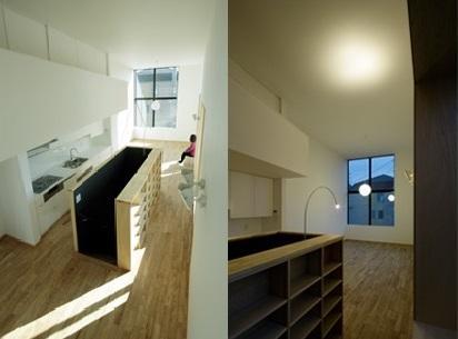 戸塚の家の部屋 収納棚のある階段スペース