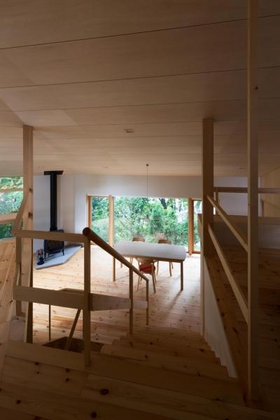 平岸の家 (階段から見通す)