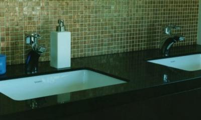 ダブルボウルの洗面台|鵠沼の家