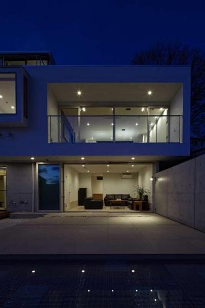 横浜E邸 (南庭夜景)