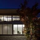 つくばK邸の写真 中庭と外観夜景