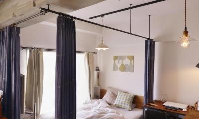 Y邸・漆喰の壁に囲まれて暮らす、光と風あふれる家 (ベッドスペース)