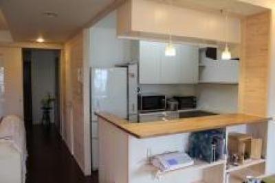 開放的なキッチンカウンター (あやめ池の家-マンションリノベーション)
