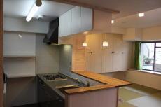 あやめ池の家-マンションリノベーション (収納たっぷりのキッチン)