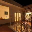 松江市東奥谷建売住宅の写真 2階中庭夜景