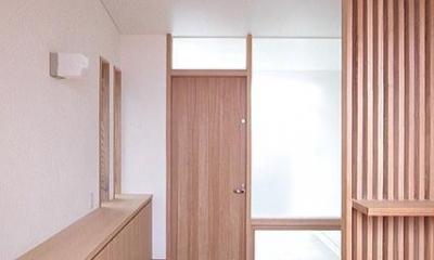 玄関の扉面(アプローチ側)|府中の家