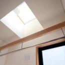 関町北の家の写真 2階の洗面脱衣室内の物干場上部に設けたトップライト
