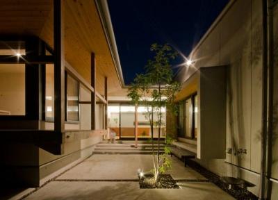 夜の中庭 (七郷の平屋)