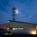 七郷の平屋の写真 ライトアップした外観