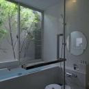 白いタイルのバスルーム