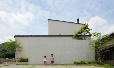 ゴトオリの家 (シンプルな白い外壁と煙突のある外観)