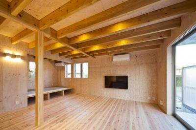 蒔絵台のSimpleBoxHouse 2 (壁掛けテレビのあるリビング)