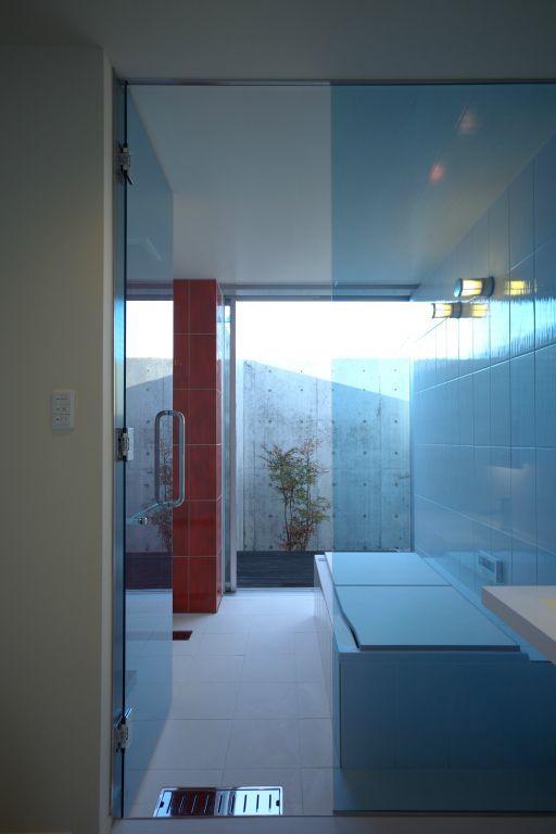 水盤のある家 (ガラス張りのバスルーム)