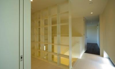 水盤のある家 (階段の収納)