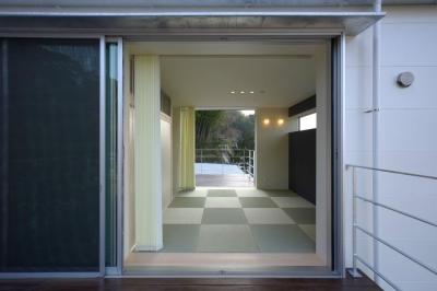 第二のリビングの和室 (水盤のある家)