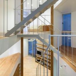上大崎の家 (吹き抜けから見渡した階段と各階層)