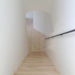 階段から見下ろして (日野町のいえ)