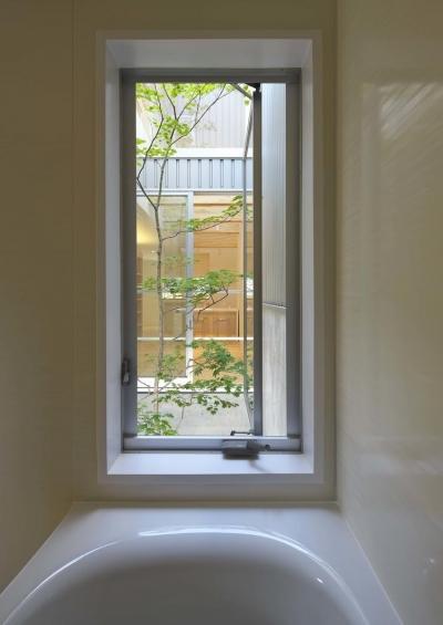 中庭を浴窓からを眺望できるバスルーム (阿倍野の家)
