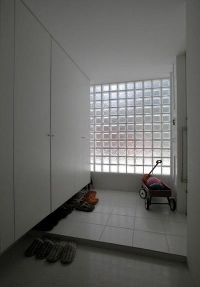 ガラスブロック積みの明るい玄関ホール (目黒区M邸)