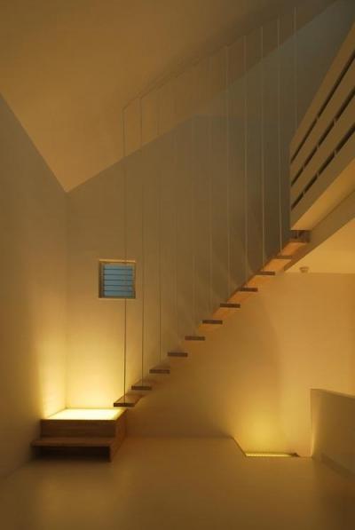 目黒区M邸 (段板だけの軽快で浮遊感のある1階リビングの片持ち階段)