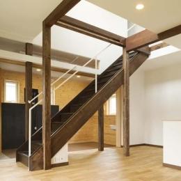ドッグリビングのある家 (吹き抜けへと続くリビング階段)