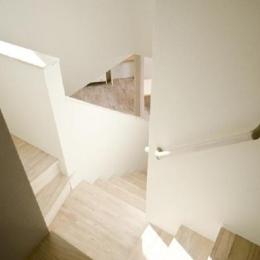 ピアノのある家 (吹き抜けから階段を見下ろす)