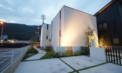 白いキューブ型の外観|Mハウス 施工例1