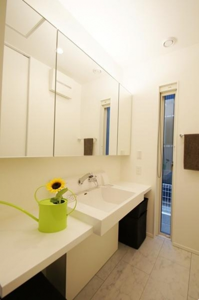 鏡収納もある洗面所 (Mハウス 施工例1)