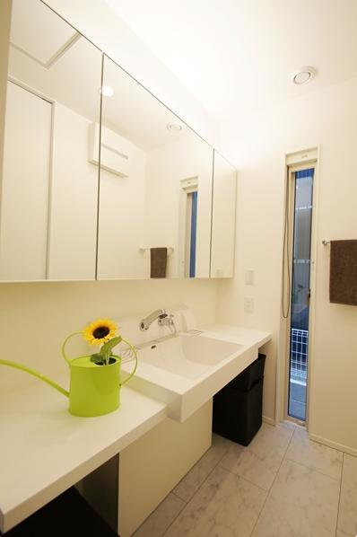 Mハウス 施工例1の部屋 鏡収納もある洗面所
