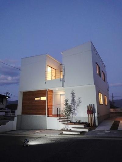 Mハウス 施工例4 (アプローチ階段のある白い外観)