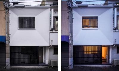 日本の伝統的空間が残る外観|花園町の長屋
