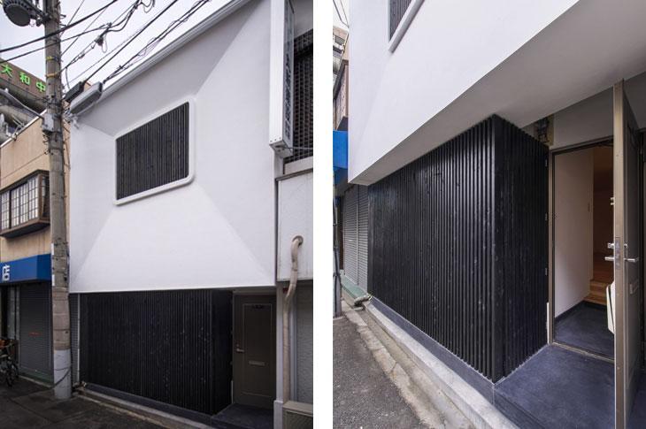 花園町の長屋の写真 黒の格子が目を引く玄関