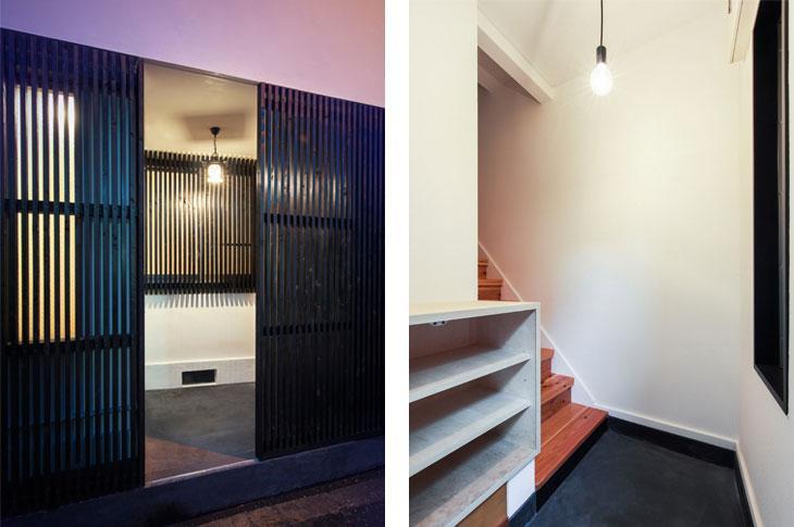 花園町の長屋の写真 黒の格子を開けると階段のある玄関