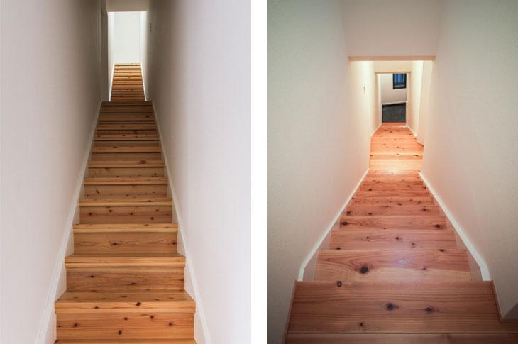 花園町の長屋の写真 木を感じる長い階段