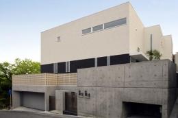 吹田の家 (地下に4台の車が収納できるインナーガレージのある外観)