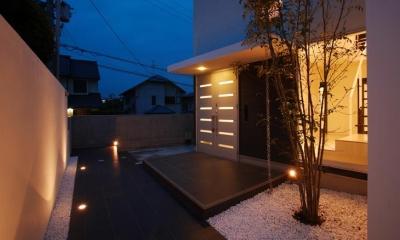 吹田の家 (シンボルツリーのある玄関)
